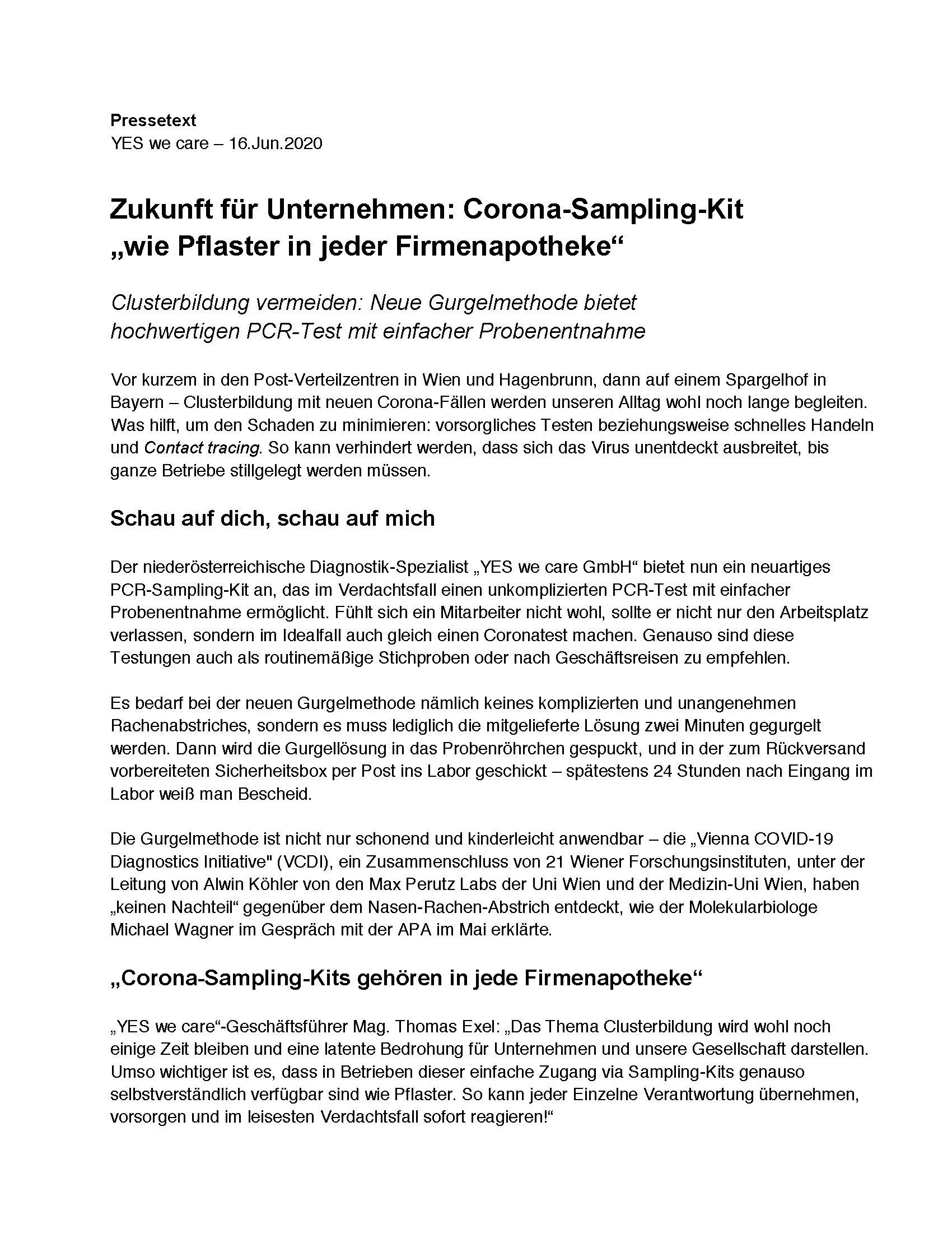 YES we care Corona-Sampling-Kits Pressetext
