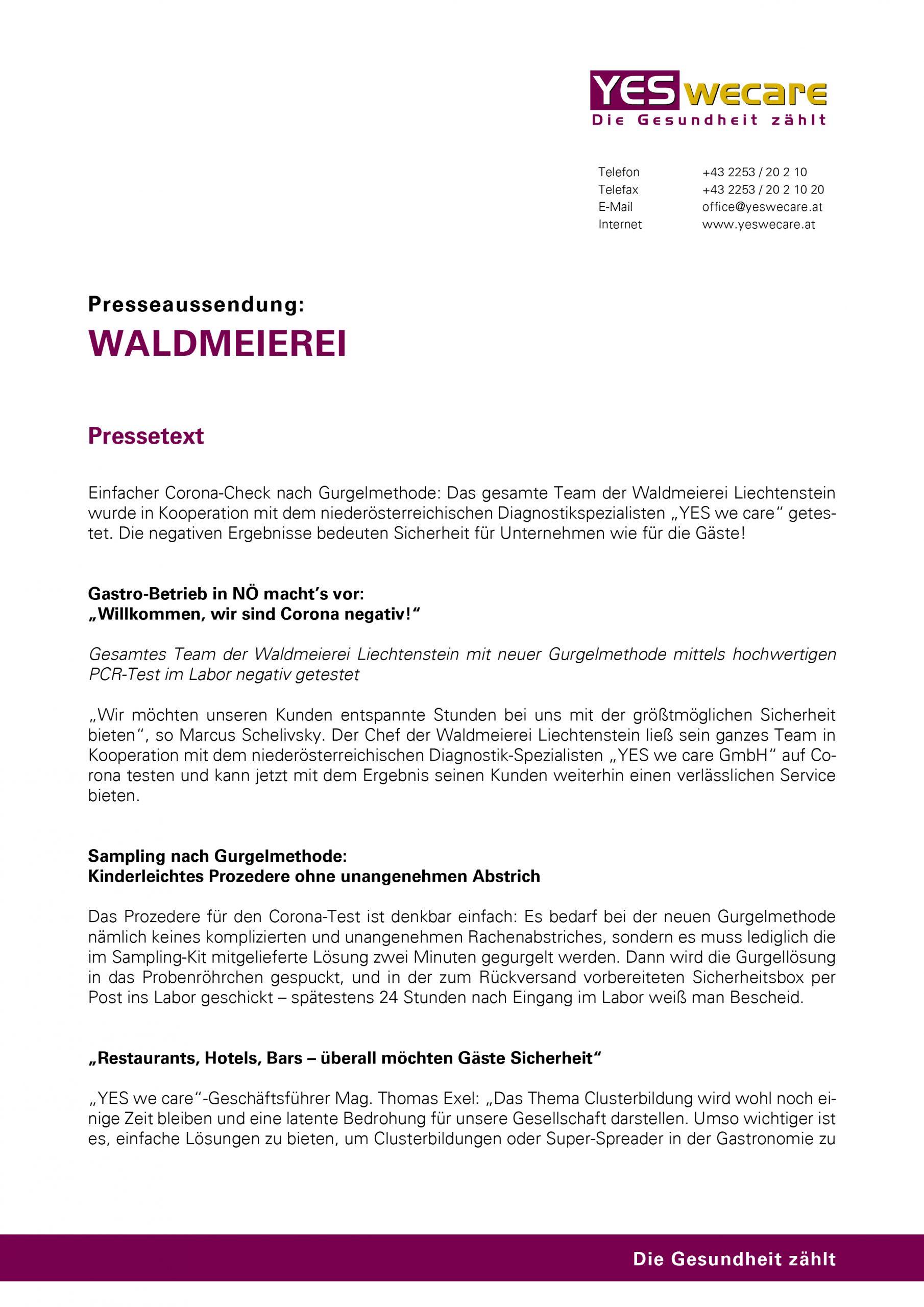 Presseaussendung_YES we care_Waldmeierei
