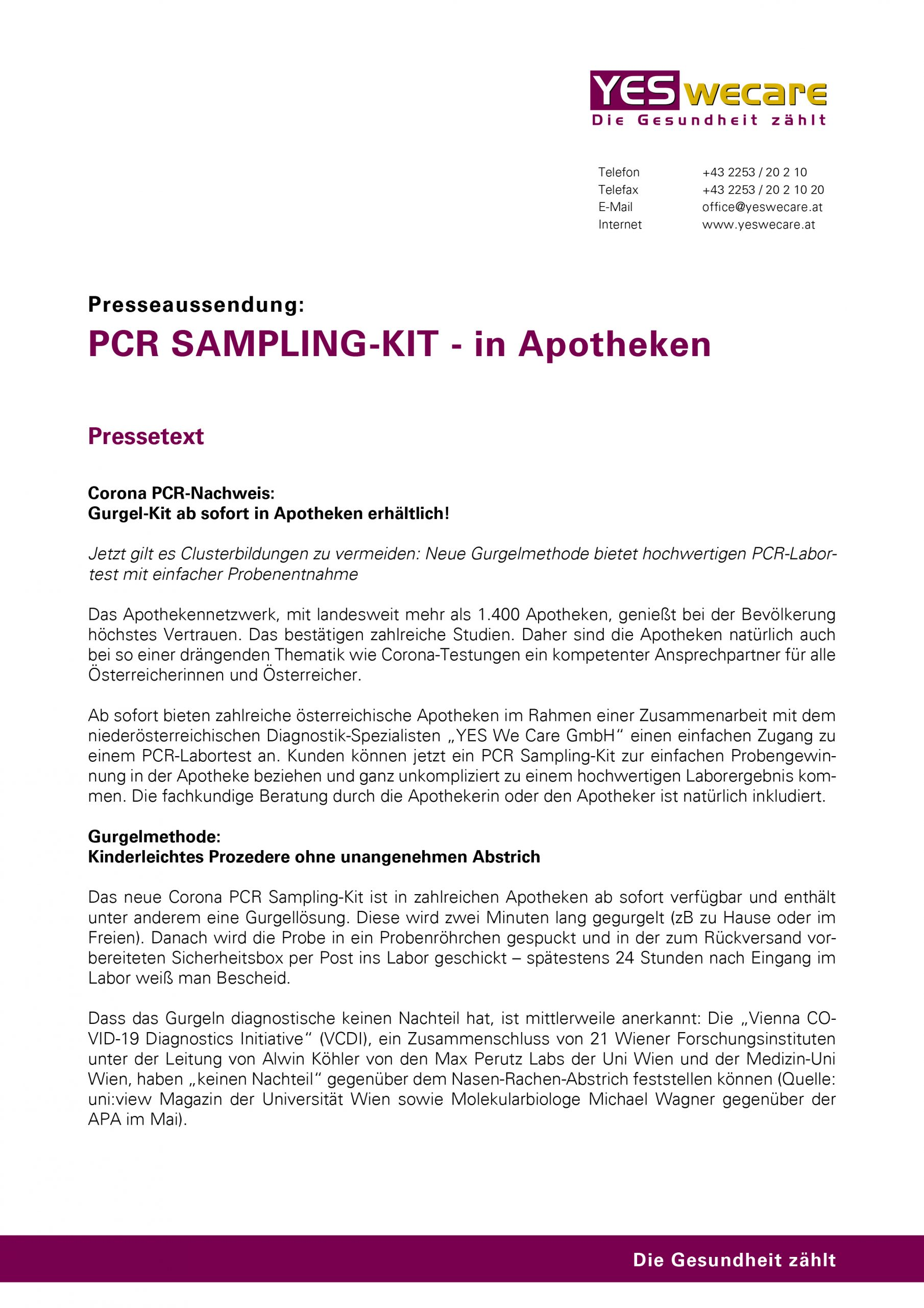 Presseaussendung_PCR Sampling-Kit Apotheken